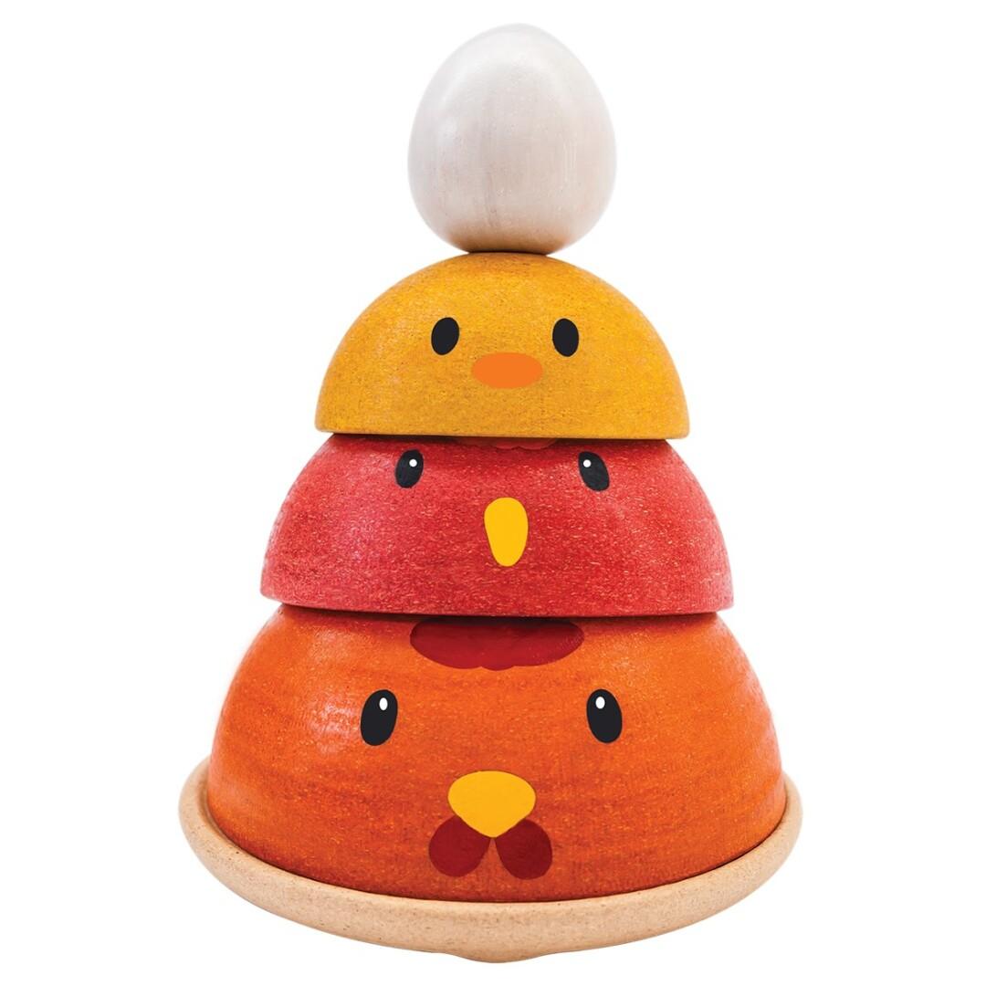 Apilable nido de pollitos- Madera de caucho reciclada. Ukitu juguetes.