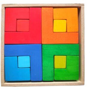 Puzzle cuadrado Waldorf madera artesanal. Ukitu Juguetes.