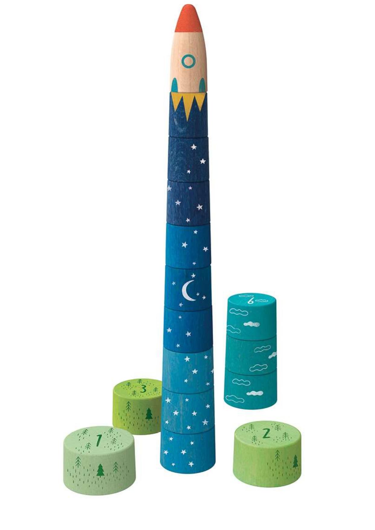 Up to the stars- juego apilable de madera. Ukitu juguetes.