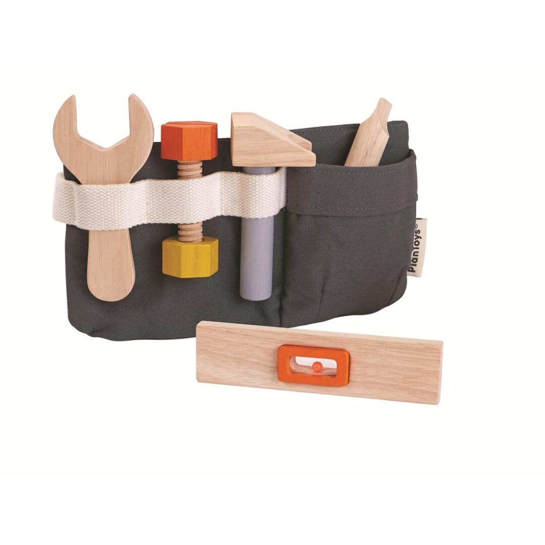 cinturón de herramientas de madera.Ukitu juguetes.