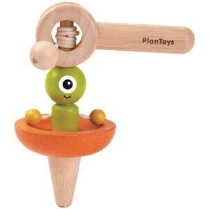 Peonza nave espacial- madera. Ukitu juguetes