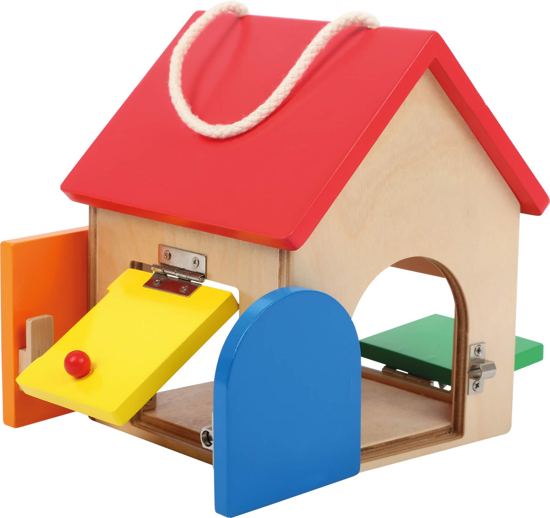 Mini casita de cerraduras de madera-ukitu juguetes