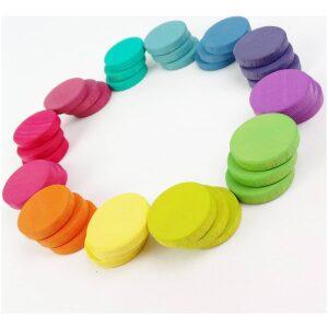 Monedas XL: 36 piezas de madera en 12 tonos arcoíris- ukitu juguetes