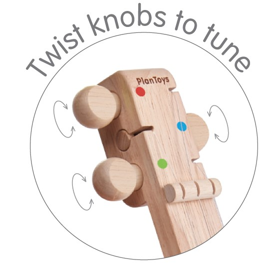 Banjolele de madera y caucho reciclado. Ukitu juguetes