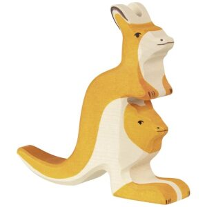 canguro con bebé de madera. juguete artesano. Ukitu juguetes