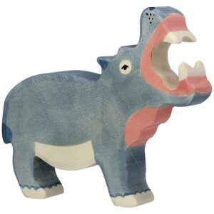 hipopótamo de madera artesanal, ukitu juguetes