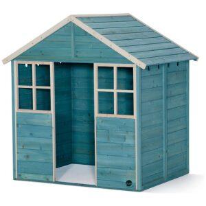 casita de jardín en madera en color verde azulado. Ukitu juguetes