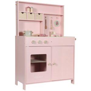 Cocinita rosa de madera. Ukitu juguetes