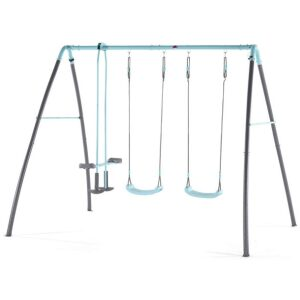 Columpio de metal con dos asientos y balancín con rociador de agua. Ukitu juguetes