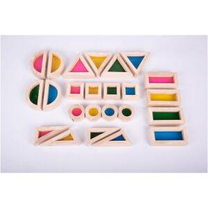 Bloques traslúcidos arcoíris. 24 piezas. Ukitu juguetes.