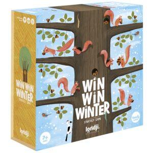 Juego de mesa Win win winter. Un juego de recorrido y estrategia para hasta 4 jugadores. ¡La ardilla que consiga llevar más bellotas a su madriguera será la ganadora! Ukitu juguetes